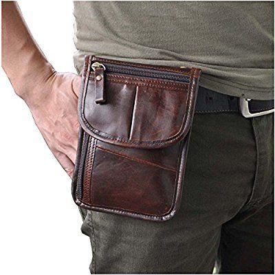 Le'aokuu riñoneras de moda para hombre Bolso de piel genuina de cintura bolso de cuero pequeña bolsa de mensajero bolsas de hombro (Café)
