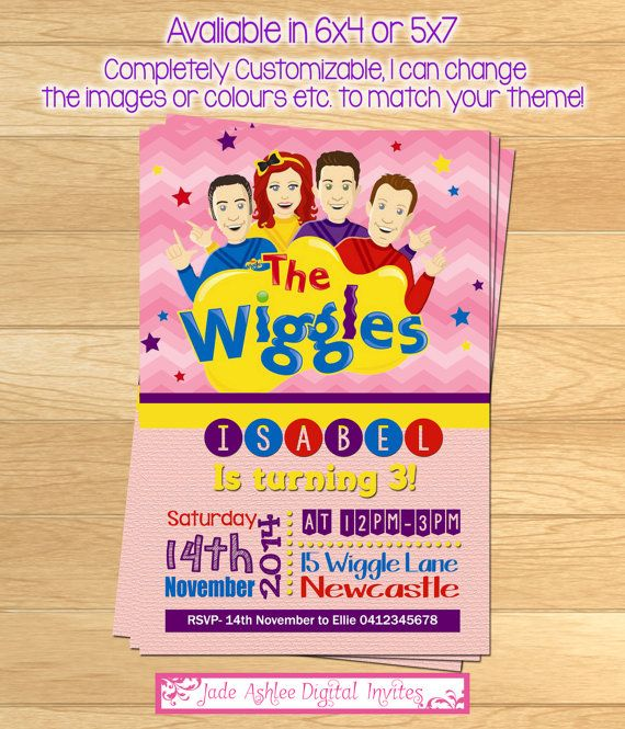 The Wiggles Birthday invitation  Girls  by JadeADigitalInvites, $8.00