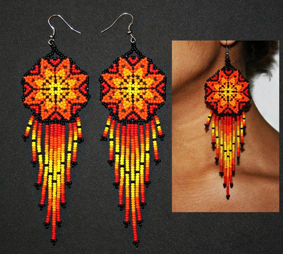 Beaded Huichol Earrings Morning Star Flame by BiuluArtisanBoutique