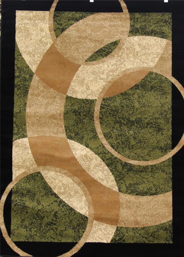 1052 Green Beige Ivory 8x11 Area Rug Carpet Moden New Age
