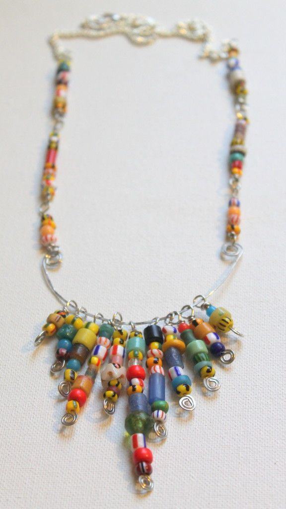 African Christmas Bead Wire Statement Necklace Tutorial W