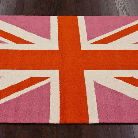 Union Jack Rug for the girls' room.  Whales for the boys and girly British for the girls!