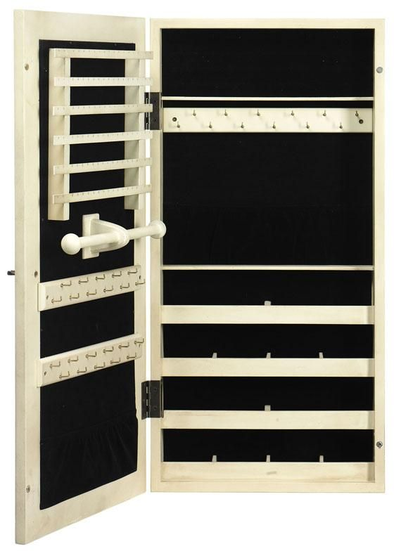 Distressed Provence Wall Mount Jewelry Armoire With Mirror Closet
