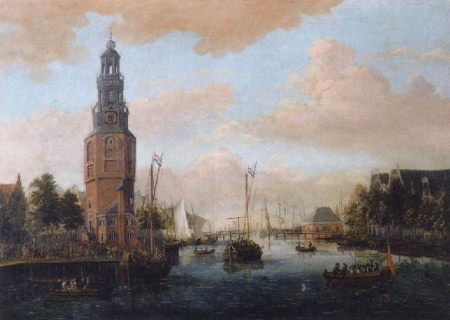 A view of the Oude Schans, Amsterdam by Jacobus Storck