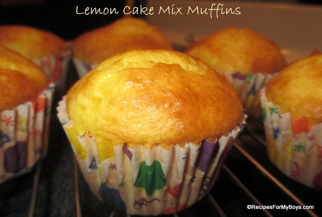 Recipes For My Boys: Lemon Cake Mix Muffins - http://www.recipesformyboys.com/2013/04/lemon-cake-mix-muffins.html