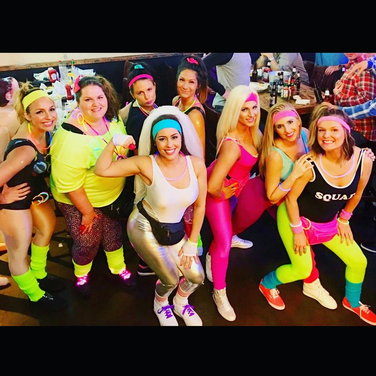 80s themed Bachelorette party #austintx #keepaustinweird #neon