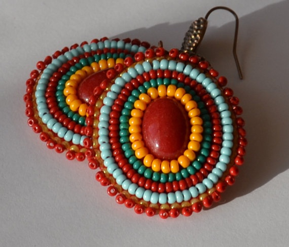 Red and Turquoise Bead Earrings/Rainbow Earrings by ChocolateAngel, $20.00