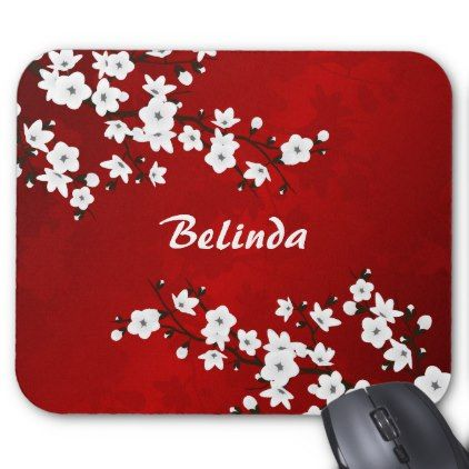 Red Black And White Cherry Blossoms Mouse Pad -nature diy customize sprecial design