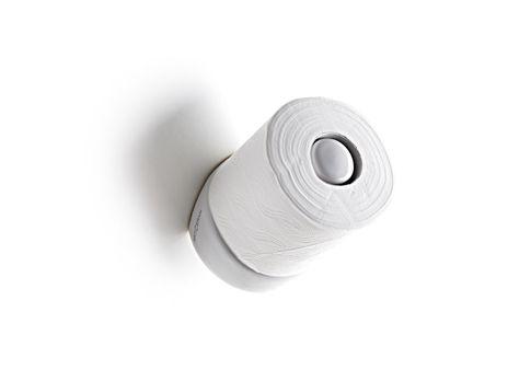 """Ironico cartometro in ceramica per misurare il livello della carta igenica avvisando quando è arrivato il tempo di farne scorta. Tre Livelli: Relax, Don't Panic! E il terzo, è proprio il caso di dirlo e di correre ai ripari, oh Shit!  /  Ironic decorate toilet roll holder to measure the toilet paper, warning when it came time to stock up. Three levels: """"Relax"""", """"Do not Panic!"""" and at the third level, it is appropriate to say and run for cover, """"oh shit!""""  #bagno #bathroom #accessories…"""