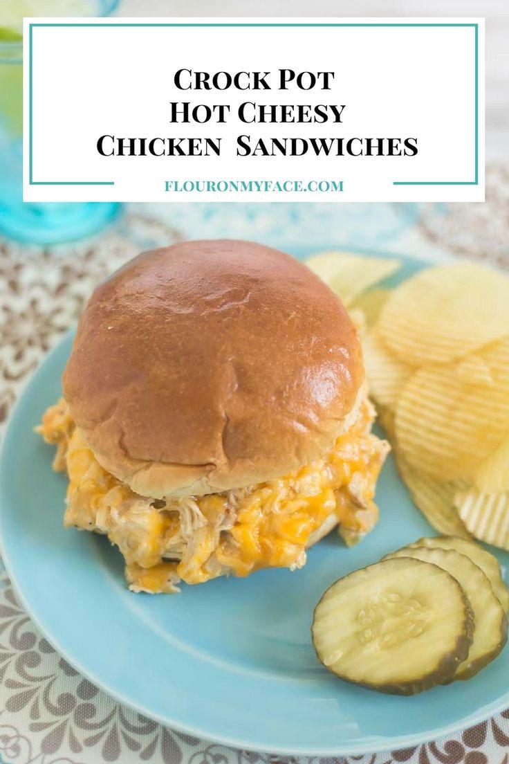 Crock Pot Hot Cheesy Chicken Sandwiches recipe via flouronmyface.com