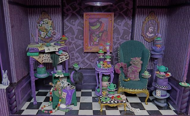 The Mad Hatter at Home.  1:12 scale miniature diorama.