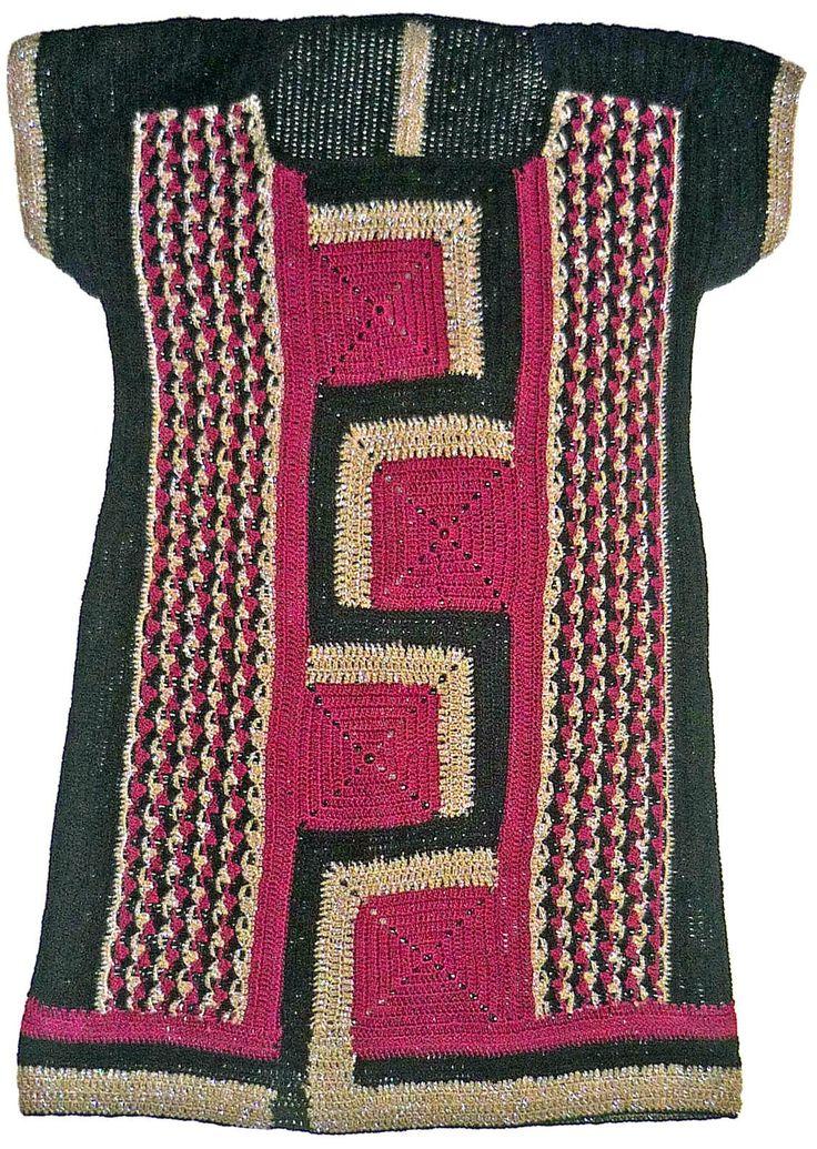 Tejidos Carmesí: Vestido tejido a crochet en tres colores con diseño geométrico, talla M
