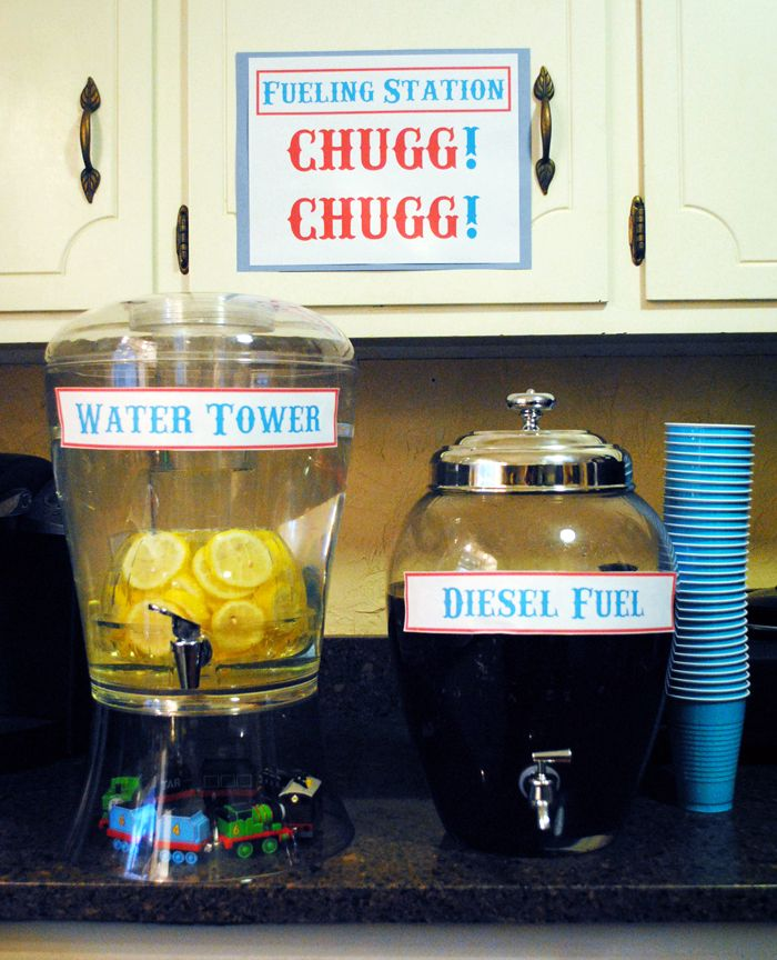 """Drink Station becomes Fueling Station at Train Birthday Party (http://EmilyLongDesign.com/MamaBlog.html) Water Tower and Diesel Fuel (Tea), """"Chugg Chugg"""" for Drink stations, """"Chew Chew"""" for Food stations"""