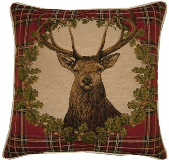 Stags Head Red Tartan Woven Tapestry Cushion by designercushions, $43.00