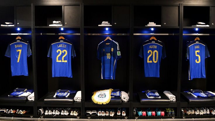 RIO DE JANEIRO, BRAZIL - JULY 13:  The shirt worn by Lionel Messi of Argentina and the match pennent displayed in the dressing room prior to...