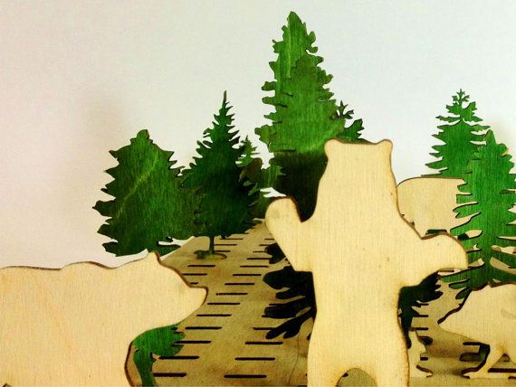 Forest Wood Toy Set Kids Toy Wooden Animals by Base9Designs, $30.00