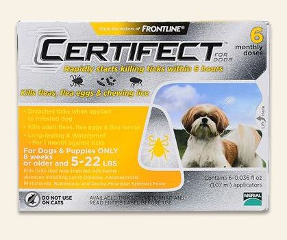 Certifect for Dogs is a fast-acting and long-lasting treatment for fleas, ticks, and chewing lice. This newly designed formula rapidly kills fleas in all stages of life, including flea eggs and flea larvae. It also kills and detaches ticks, removing up to 100% of ticks within 18 hours. Additionally, Certifect for Dogs destroys chewing lice and controls the infestations of both chewing lice and sarcoptic mange.