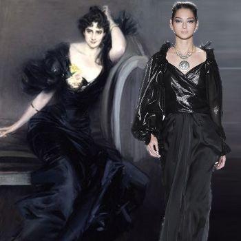 Gli stilisti si ispirano a Boldini. Così Badgley Mischka, già nel 2009, metteva in collezione  questo  lungo abito scuro da sera, quasi una copia di quello  dipinto nell'opera dedicata a Gertrude Elizabeth, Lady Colin Campbell.