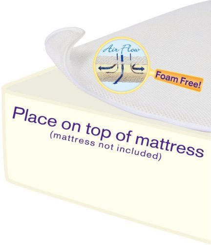 Improve airflow in the crib! This breathable crib mattress topper enhances air circulation around baby, creating a safer sleep environment while making the crib a softer, cushier place. What's unique: unlike conventional, solid foam mattress pads, it's made of airy layered mesh that enhances ventilation, keeping baby cooler and preventing overheating. Place under the fitted sheet. Lab tested for safety. Imported. - http://babyroomideas.co/dex-bab...