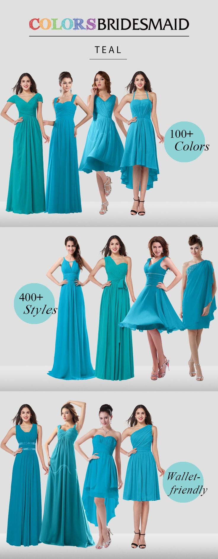 Teal bridesmaid dresses are all made to order to flatter your figure and will never break your bank out with affordable prices.