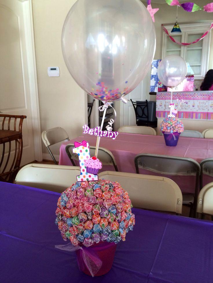 1st Birthday #Cupcake theme #centerpieces