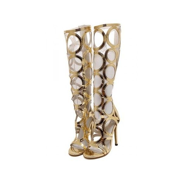 Gold Cutout Open Toe Knee High Gladiator Heels ❤ liked on Polyvore featuring shoes, pumps, platform pumps, gold stilettos, open-toe pumps, sexy high heel pumps and high heel platform pumps
