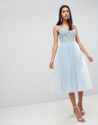ASOS PREMIUM Lace Cami Top Tulle Midi Dress