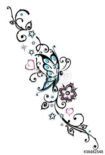 Ranke mit Dornen, Blumen und Schmetterling. Tendril with thornes, flowers and butterfly. © Christine Krahl – #christinekrahl #vector – Fotolia/AdobeS…