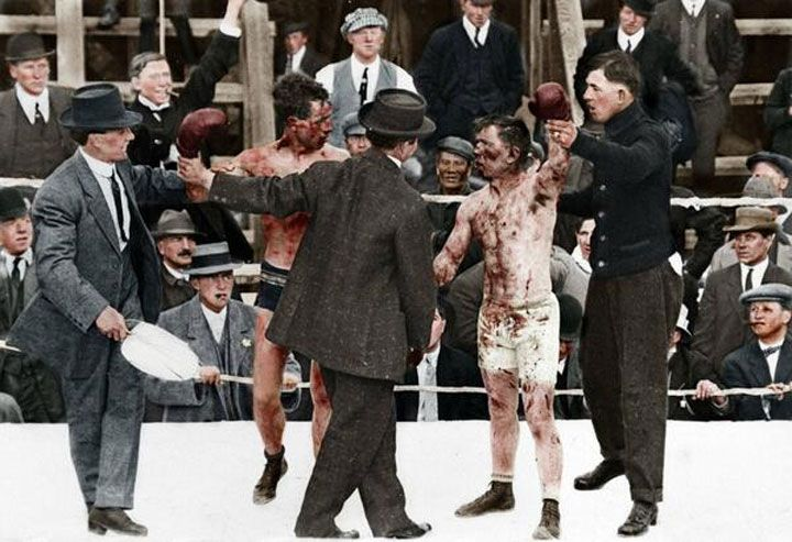 Boxe em 1913 colorido