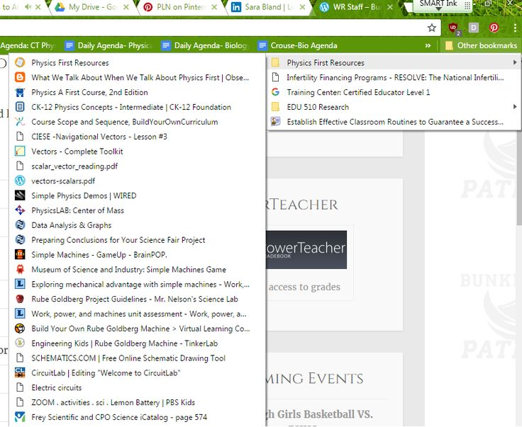 "This is one section of my bookmarks toolbar.  This is the first year that our school has adopted the Physics First program, and I am spearheading that endeavour.  Clearly, I need many resources to pull from as I'm writing the curriculum as we go.  I keep all of those resources here in this bookmark tab.  	I also have other tabs across the top of my web bar including ""Physical Science"", ""Biology"", and ""Research""."