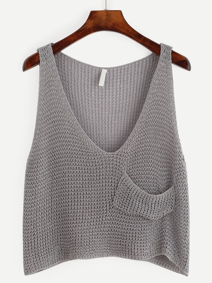Plunge Knit Crop Tank Top