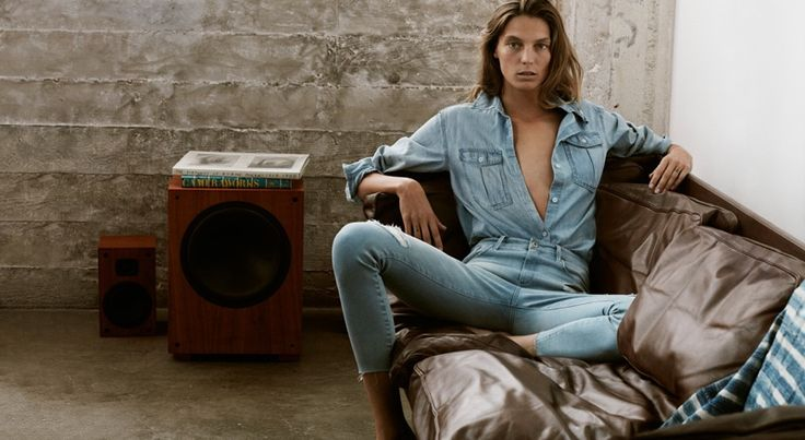 Daria Werbowy wears denim stars in AG Jeans spring summer 2016 campaign