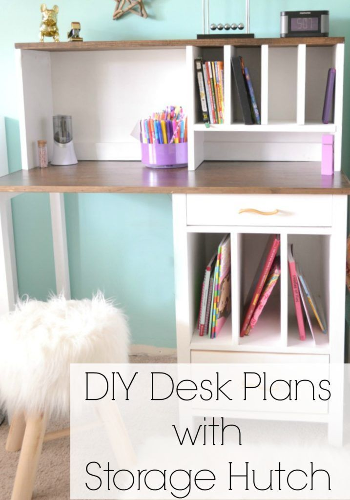 DIY Desk Hutch with free plans by Ana White | http://iamahomemaker.com | Free Plans