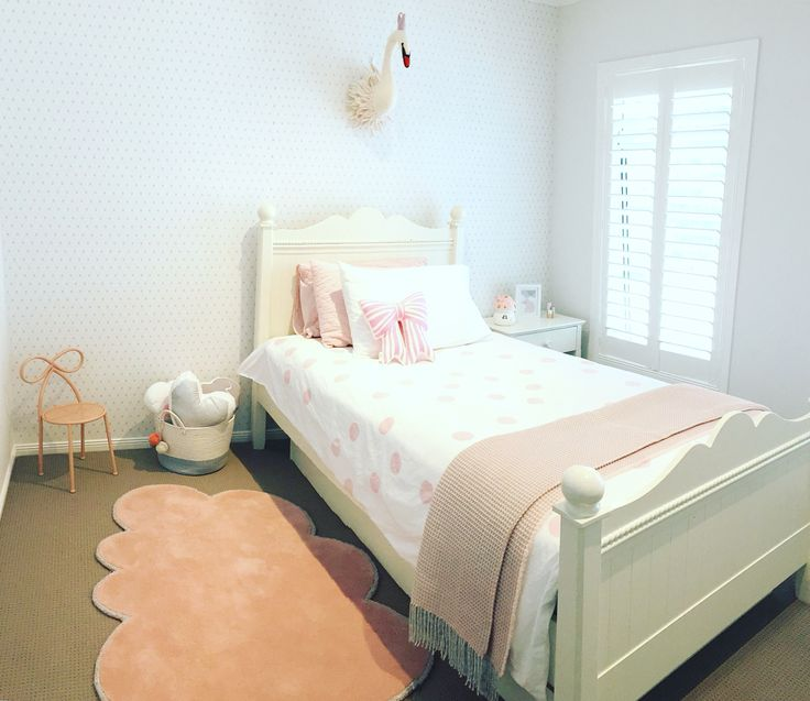 Blush & White girls bedroom by Nest For Kids Interiors, featuring BC Magic Wallpaper