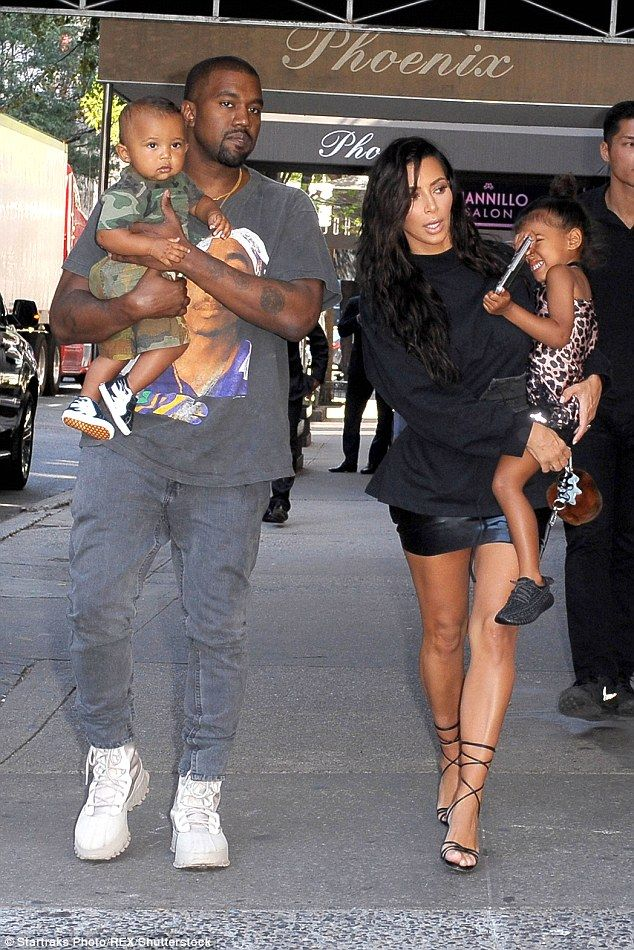 Low key:Kim - who also has three-year-old daughter North with her partner - invited her f...