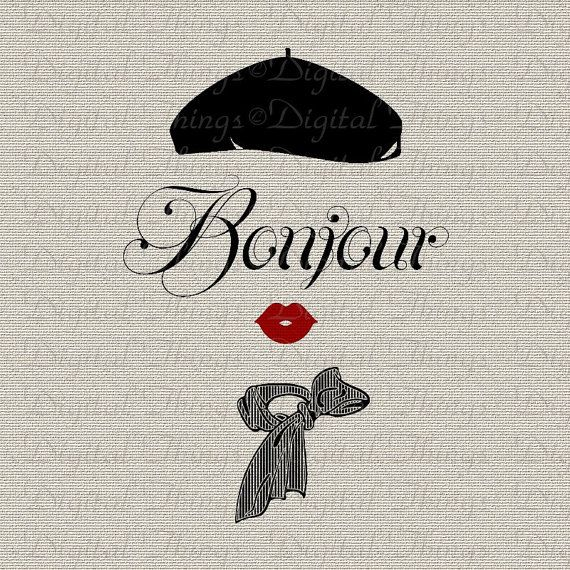 Bonjour Script French Woman French Script French by DigitalThings, $1.00