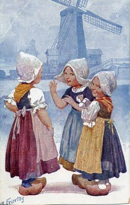 Traditional Dutch dress, on vintage post card