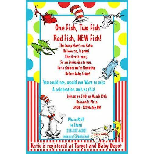 Baby Shower Invitations: Pink Frame Polkadot Seuss Baby Shower Invitation,  Amazing Multicolored Dr Seuss
