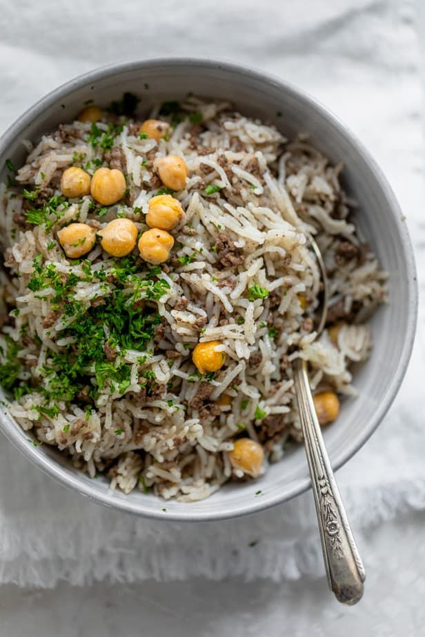 Mediterranean Ground Beef And Rice Recipe In 2020 Lebanese Recipes Beef And Rice Egyptian Food