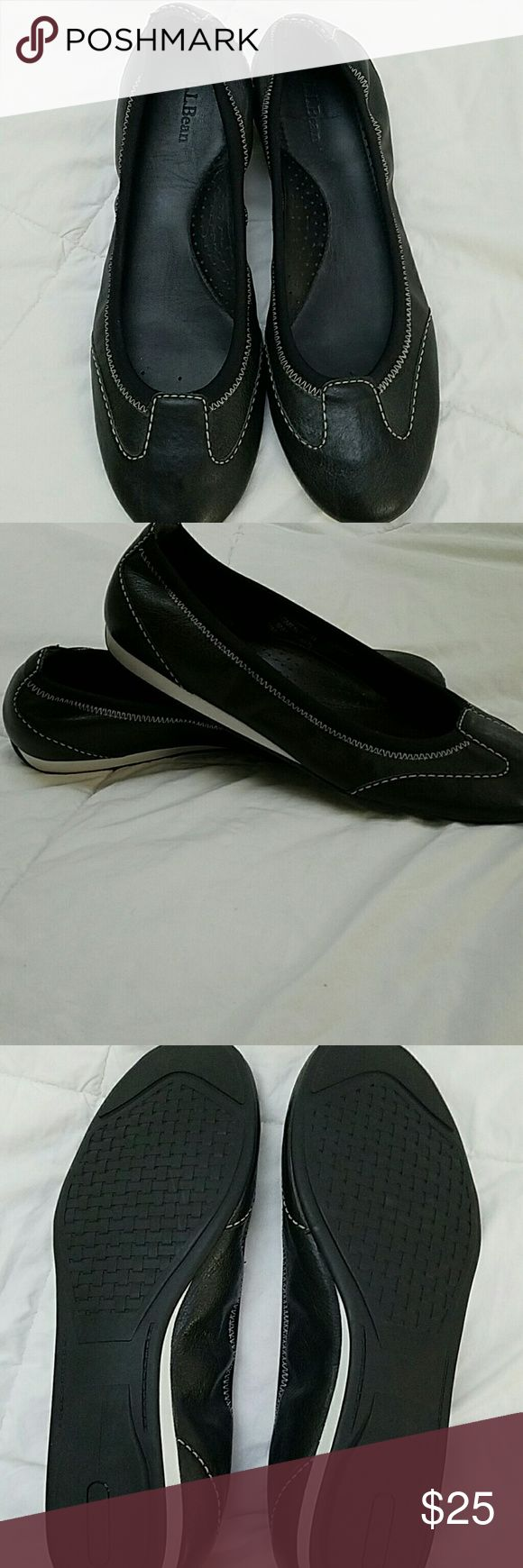 LL Bean Shoes Black leather LLBean Skimmers. Worn twice. LL Bean Shoes Flats & Loafers