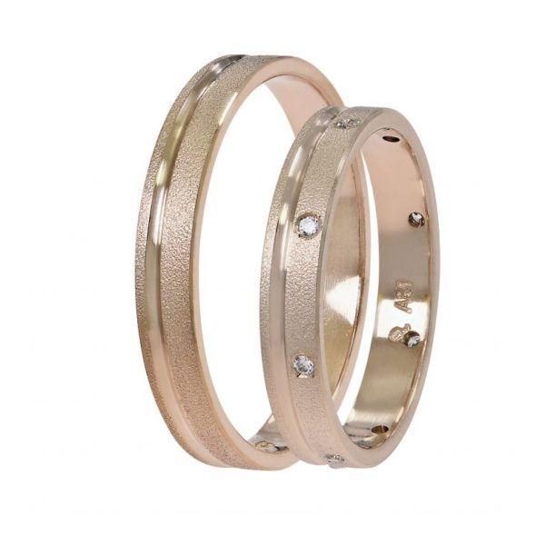 Βέρες γάμου Stergiadis ροζ  χρυσό Κ14 SAT-3RR501