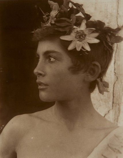 Sicilian Youth with Wreath of Roses, c.1900 by Wilhelm Von Gloeden. (She's so contemporary looking, isn't she?)