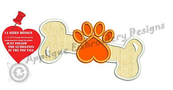 Dog Bone Paw Embroidery Applique Design Puppy Bone Applique