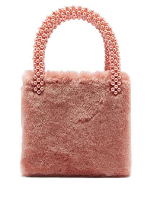 fb106f76db96 Shrimps Una faux pearl-embellished faux-fur bag