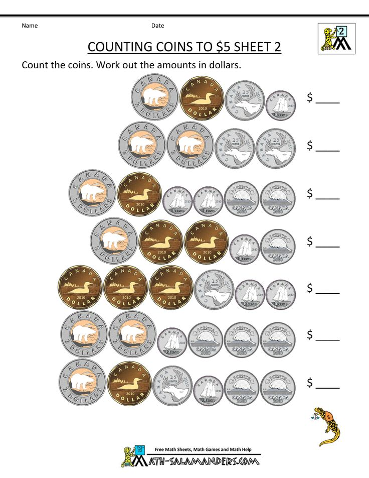 printable canadian money worksheets counting canadian coins to 1, 2, 5 dollars