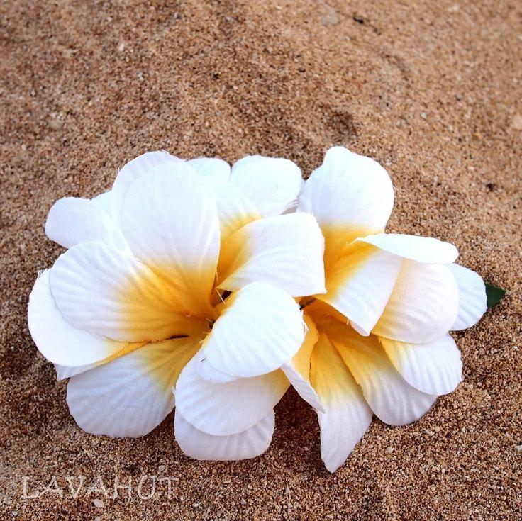 Plumeria White Hawaiian Flower Hair Clip