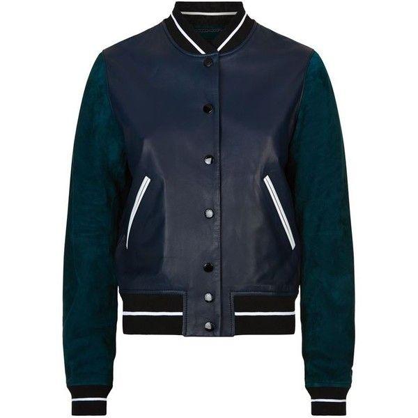 Rag & Bone Alix Leather Varsity Jacket (22,745 MXN) ❤ liked on Polyvore featuring outerwear, jackets, genuine leather jackets, varsity bomber jacket, sport jacket, real leather jackets and leather jackets