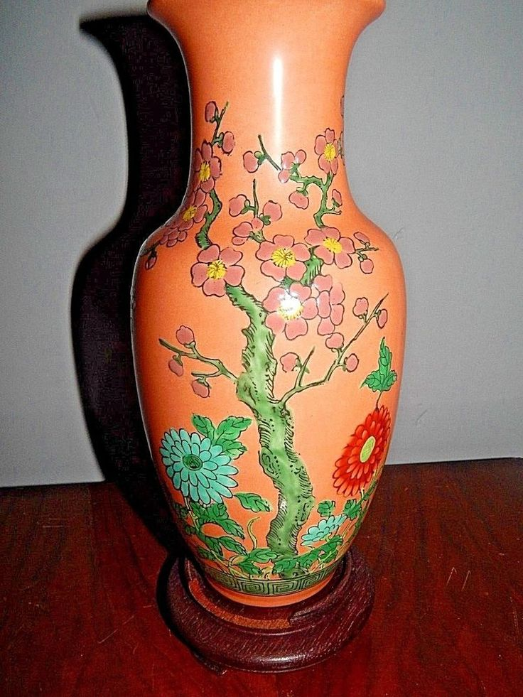 VINTAGE ANTIQUE Prunus FAMILLE VERTE VASE LAMP Light WOODEN STAND Chinese OLD
