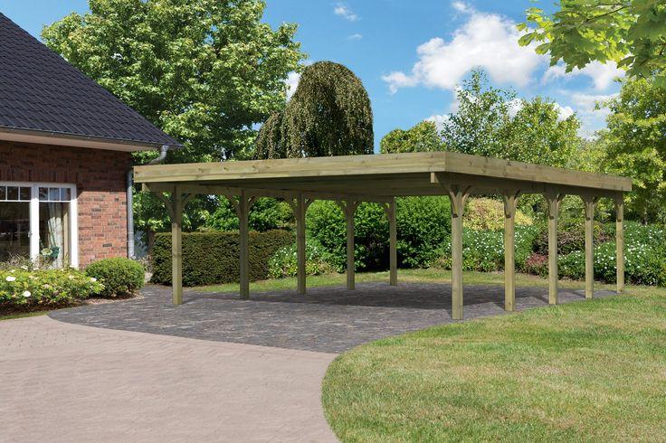Profitez de ce Carport 2 places Bois Autoclave 40.82 m2 avec Toit PVC Nervuré PREMIUM 3 a bas prix ! - LeKingStore