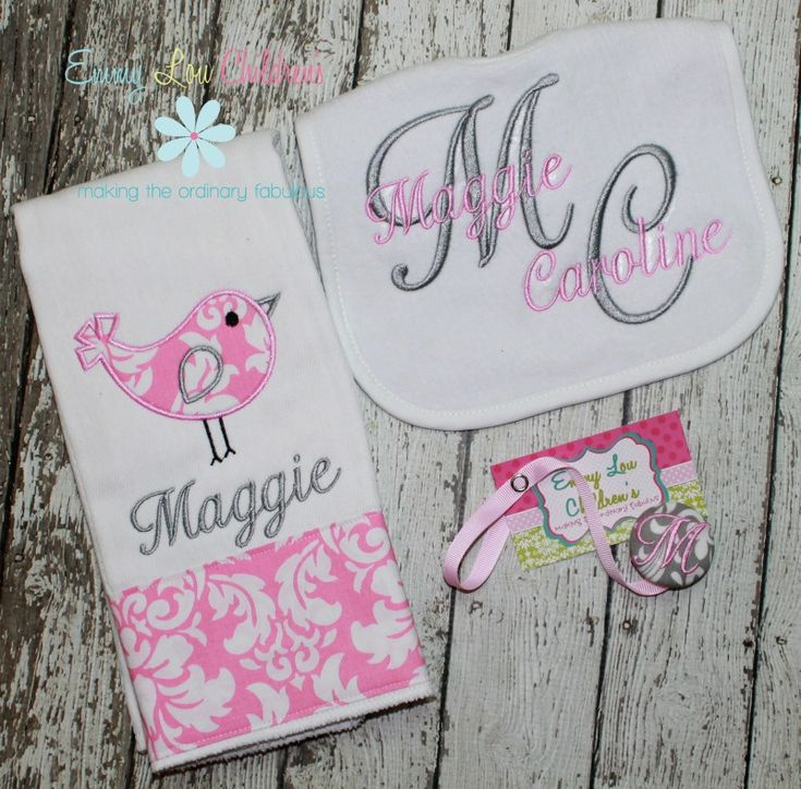 127 best emmy lou baby gifts images on pinterest baby gifts personalized baby gift set set of one personalized burp cloth pacifier clip and bib personalized gift set negle Images
